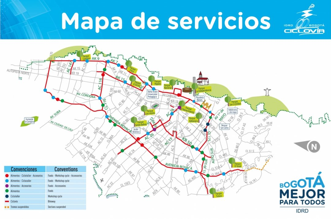Map of the Ciclovia in Bogota