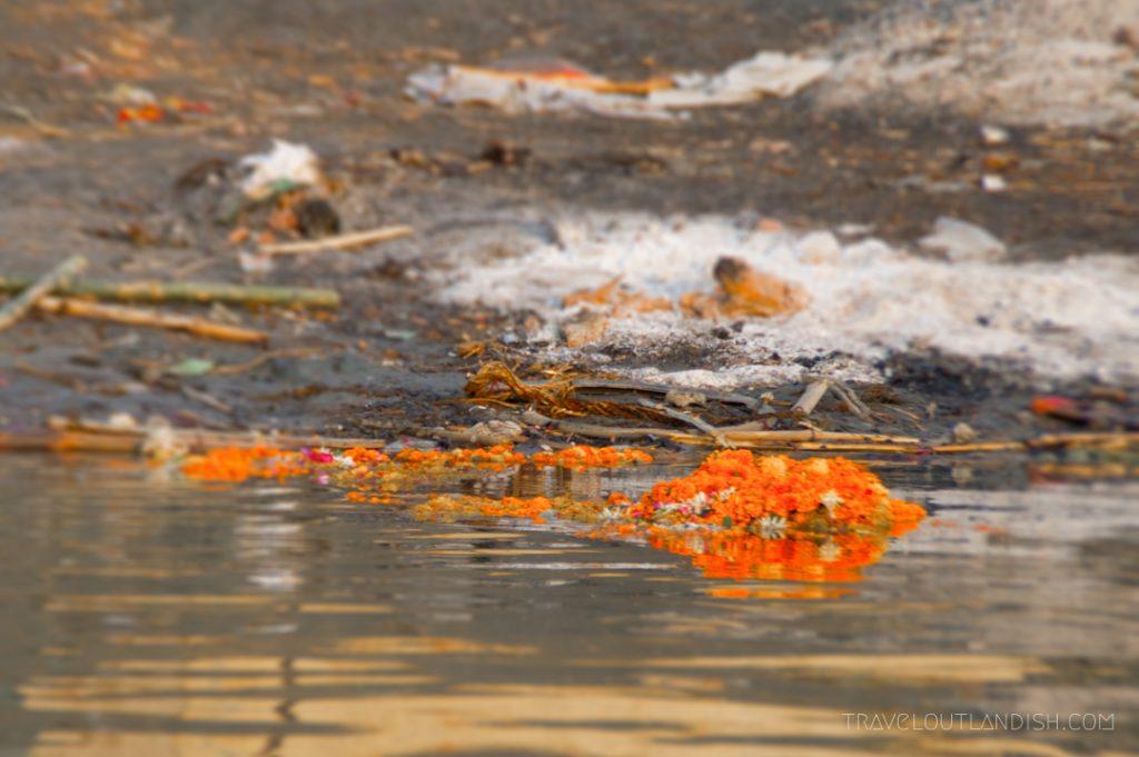 Flower garlands at Varanasi burning ghats
