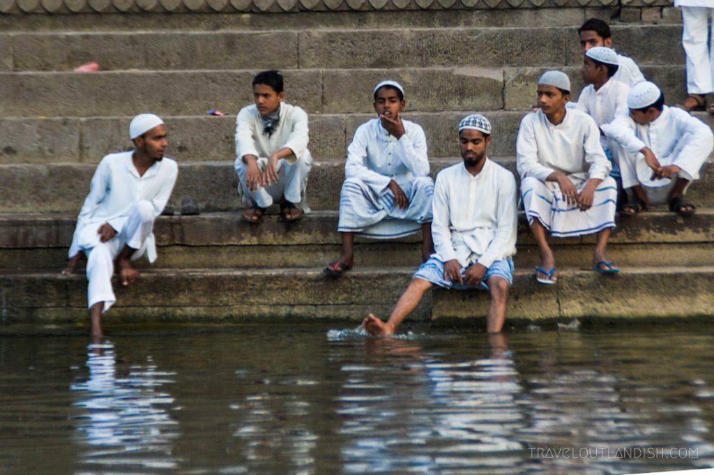 Men Bathing in the Ganges River