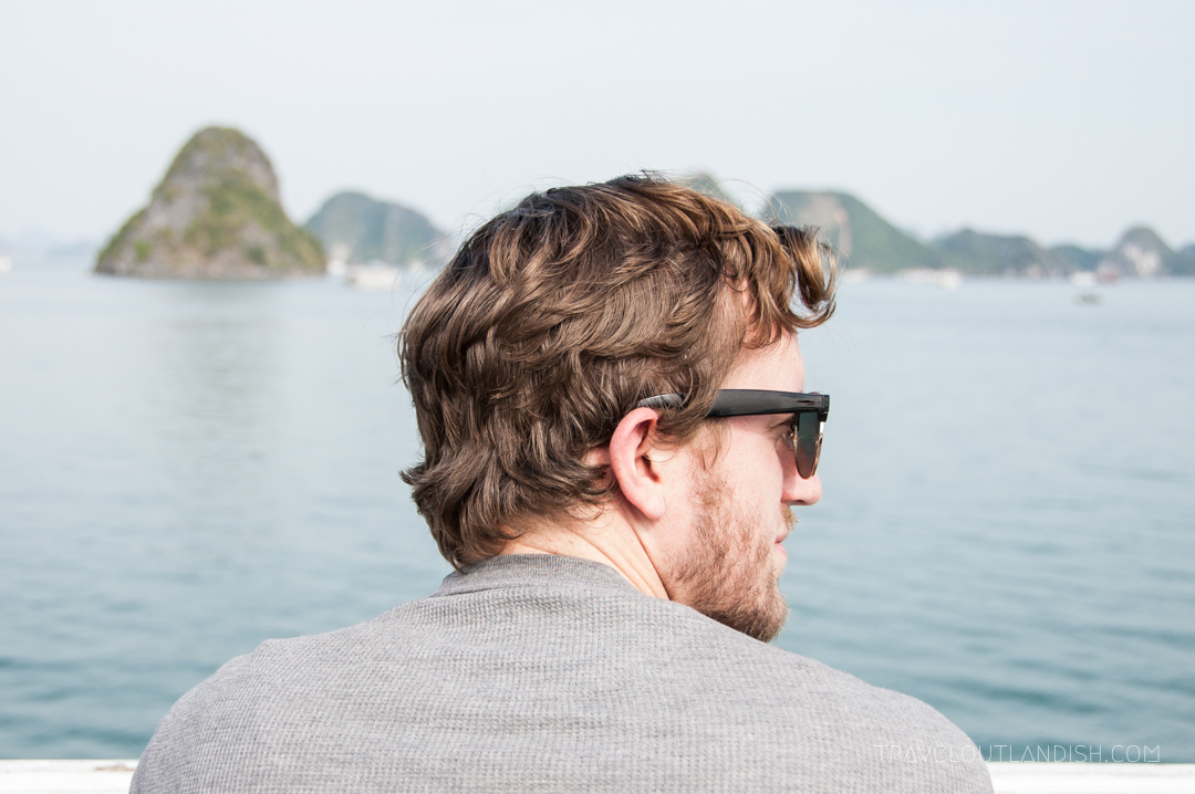Halong Bay - Daniel looking out on the limestone karsts