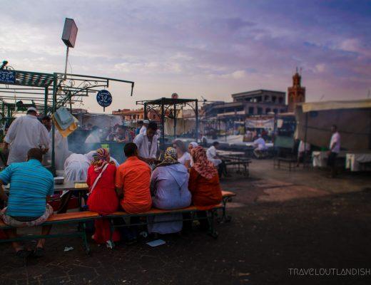 Family eating at Djeema al Fna in Marrakech