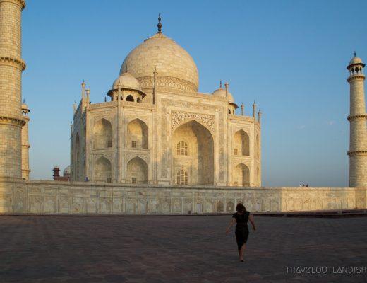 Walking towards the Taj Mahal