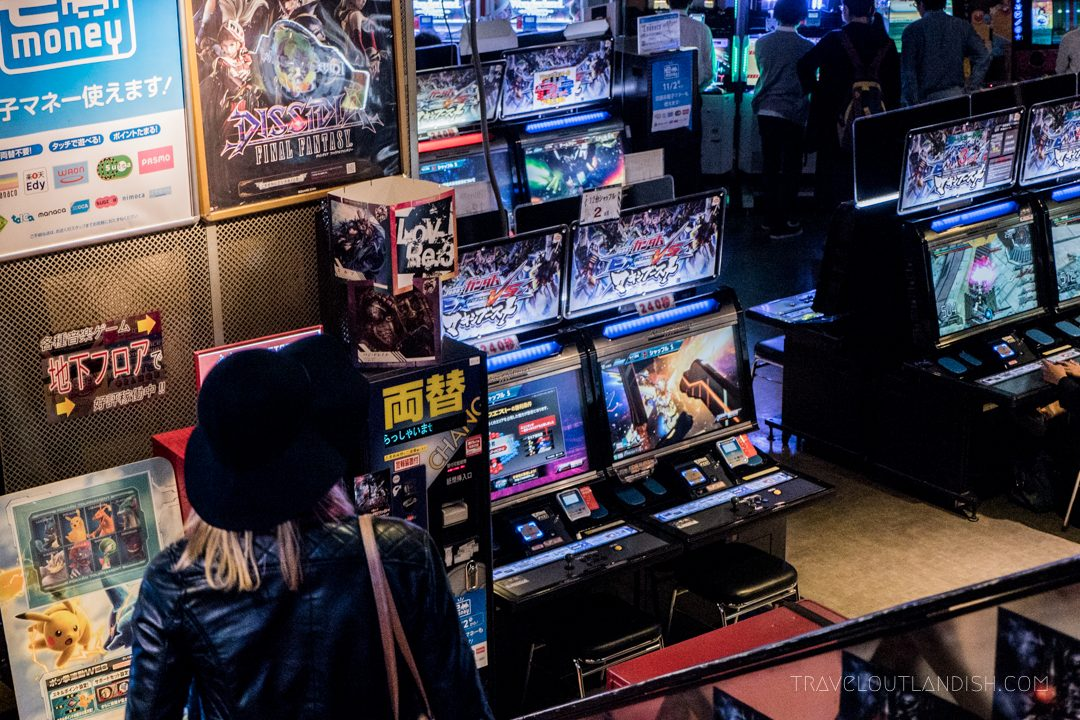 Taylor in an arcade in Tokyo