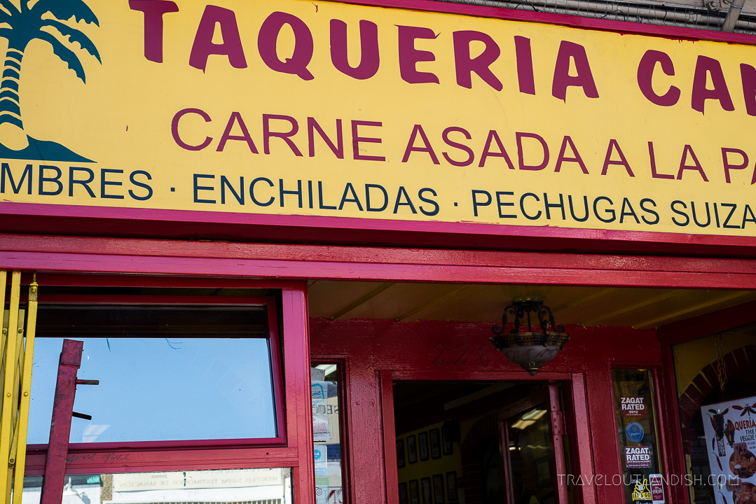 Exterior of Taqueria Cancun, one of the contenders for best tacos in San Francisco