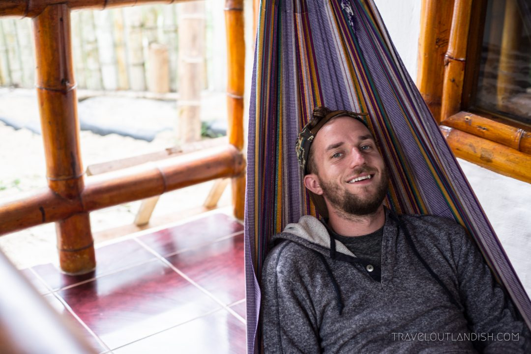 Daniel in the Hammocks at the Montañita Cabañas