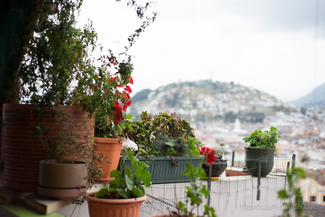 View of Quito from Secret Garden Hostel
