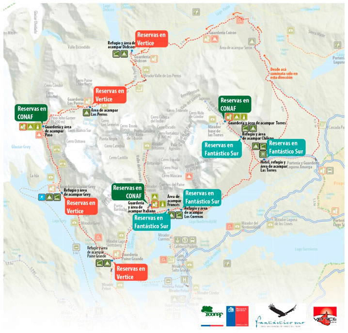 Campsites in Torres del Paine