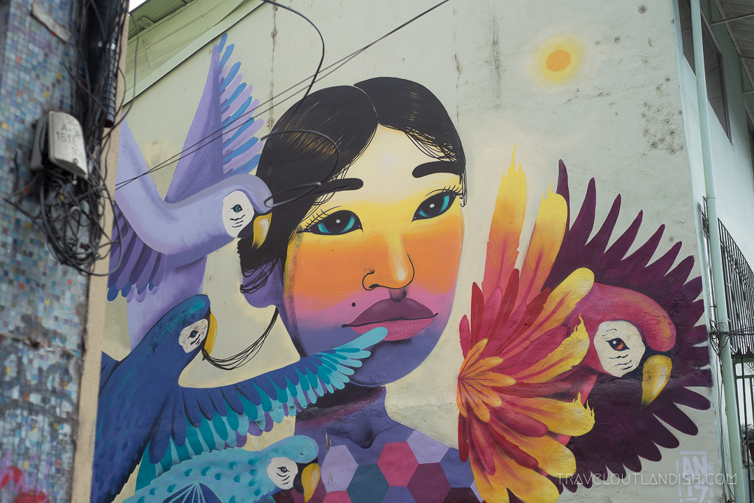 Vaparaiso Street Art - Woman with Sunrise on her Face