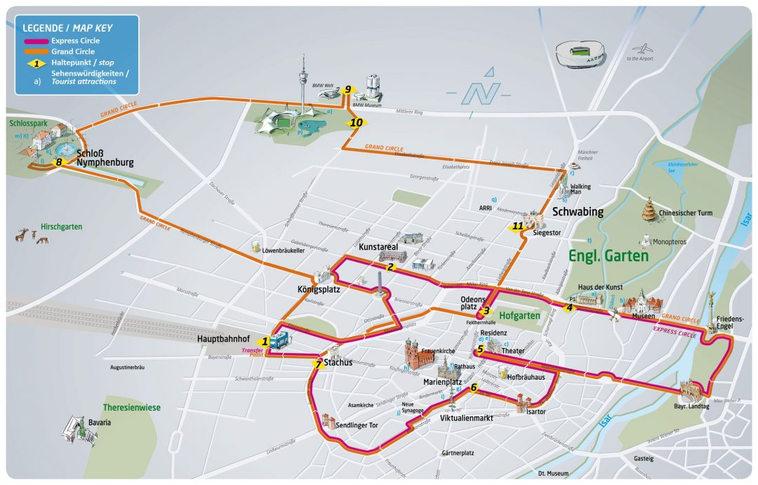 Munich Sightseeing Bus - Gray Line Map
