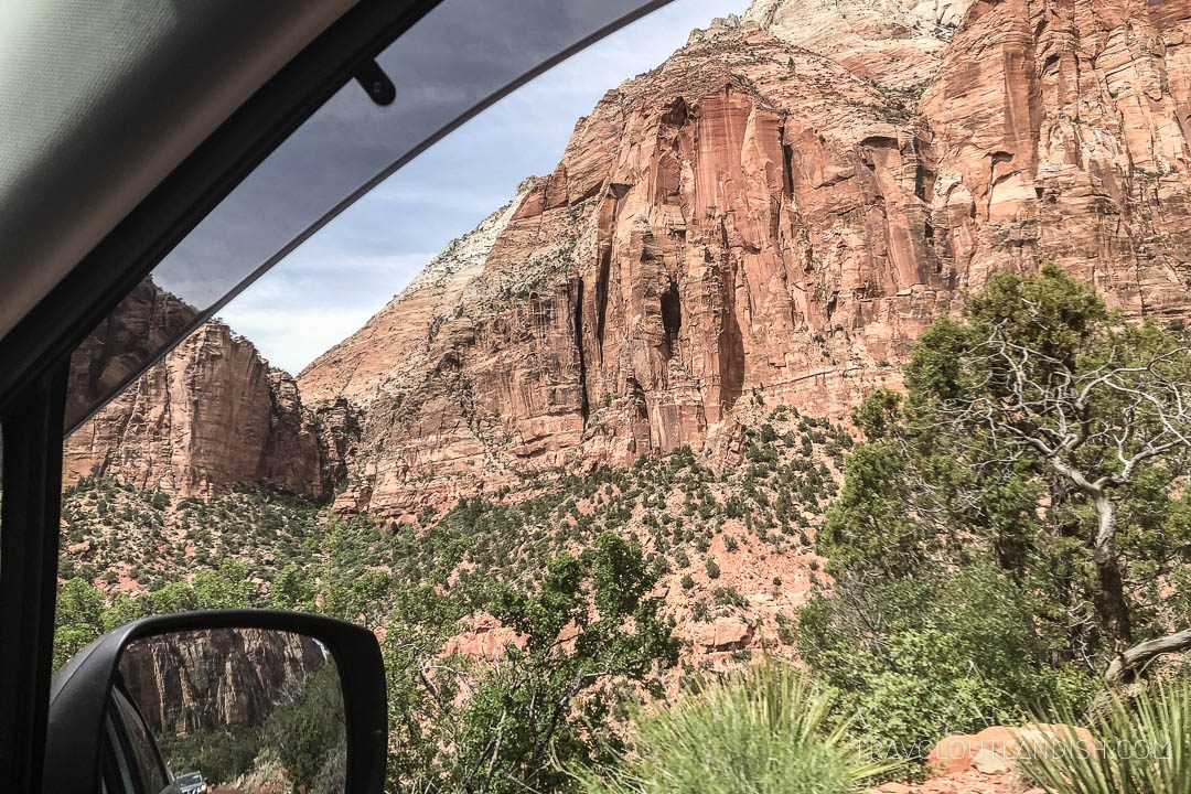 View out the window on a scenic drive in Zion National Park