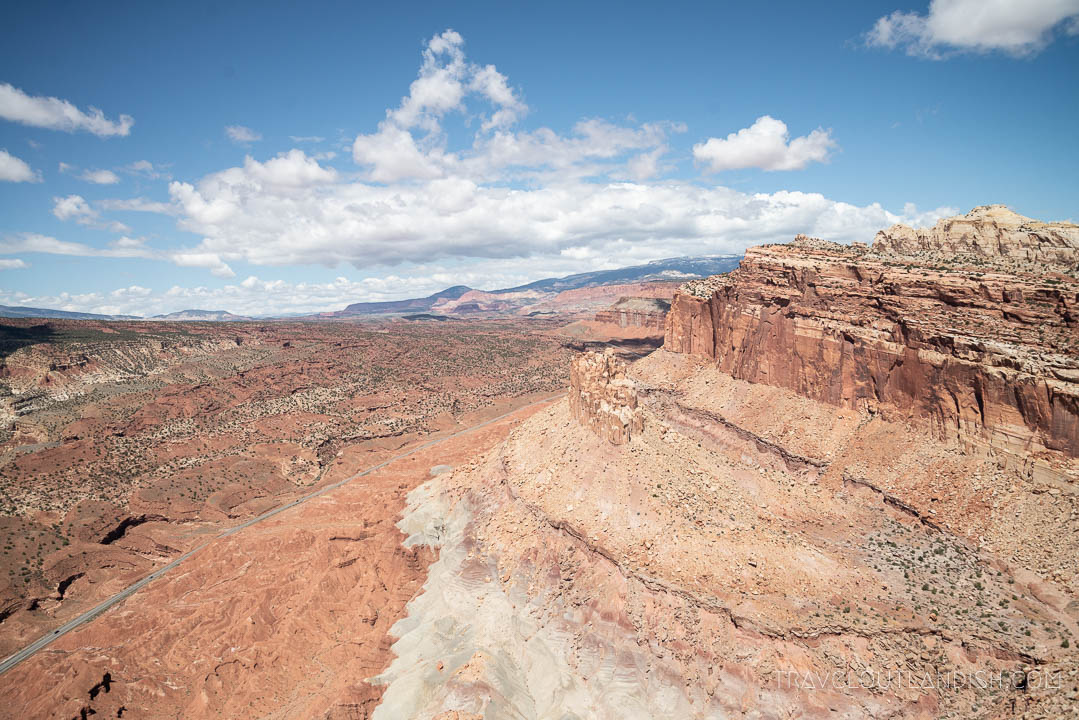 Best National Parks in Utah - Looking down at Scenic Byway 23 through Capitol Reef National Park
