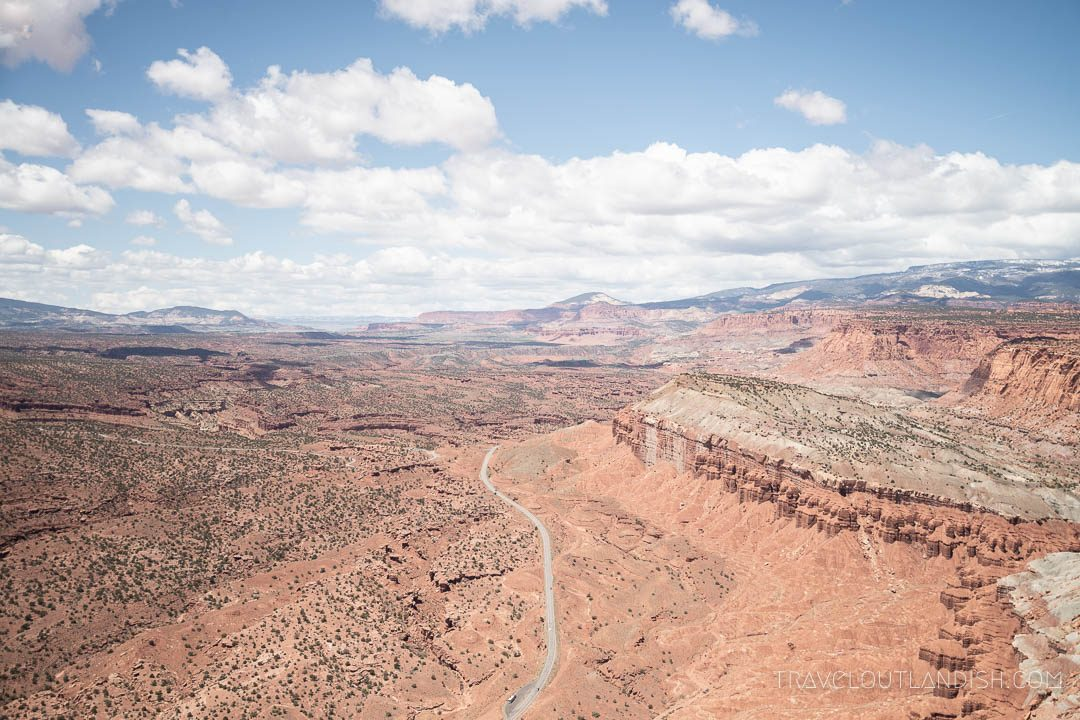 View of HWY 24 running through Capitol Reef National Park