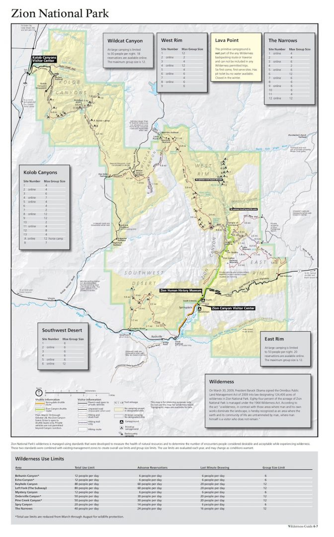Zion Backcountry Map