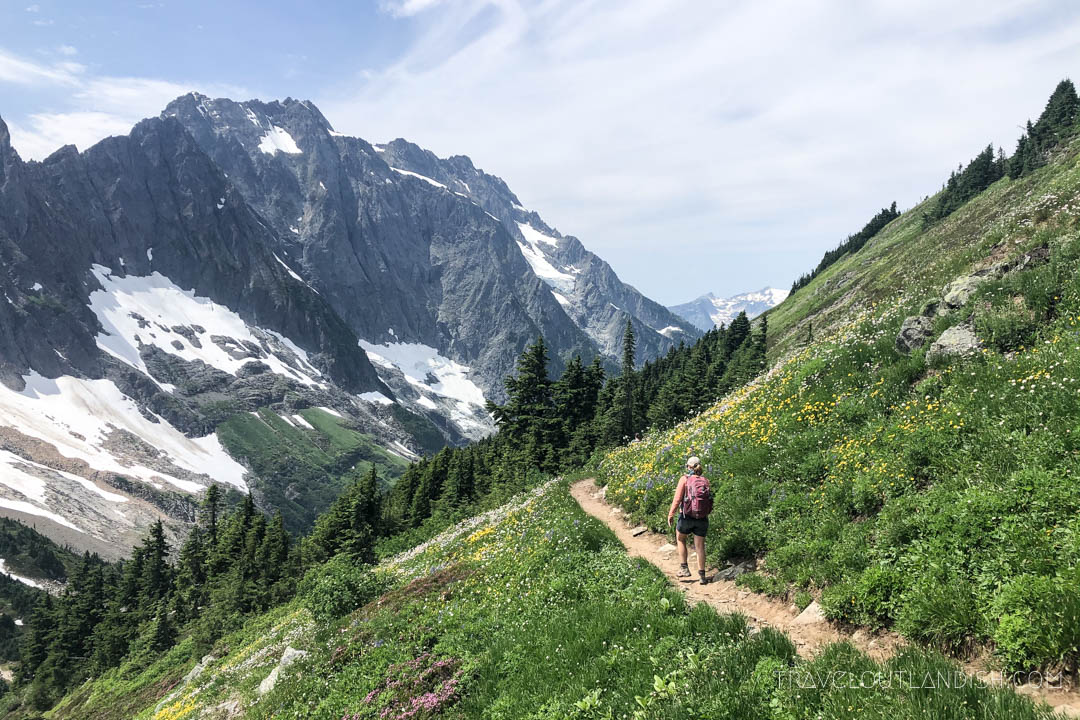 Hiking a high-visibility trail in North Cascades