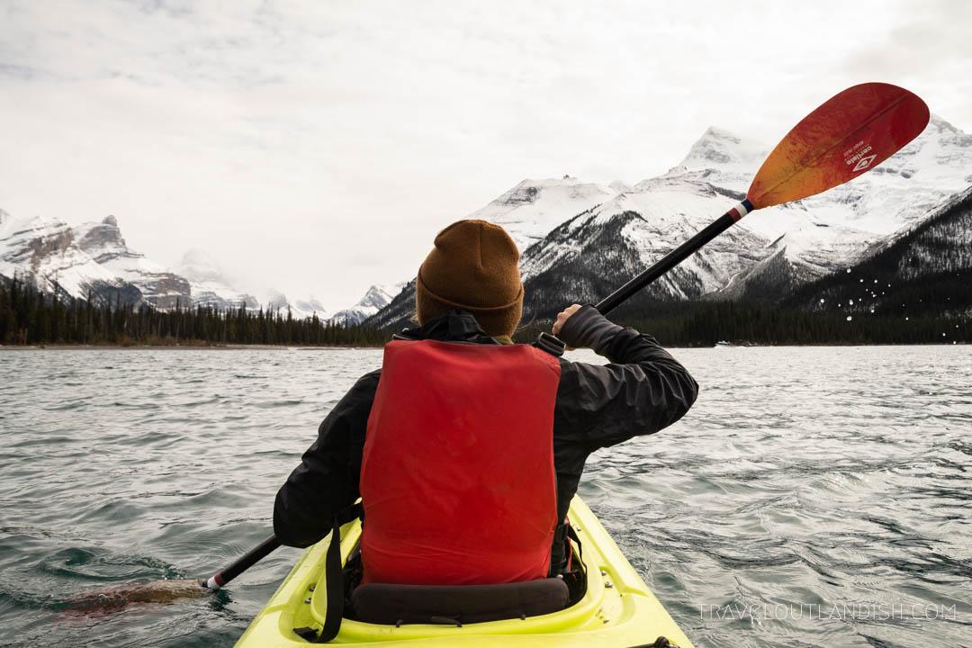 Kayaking on Maligne Lake