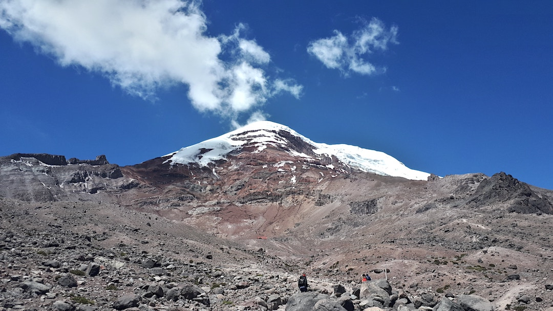 A group of hikers climbing towards the summit of Chimborazo – the pinnacle of trekking in Ecuador