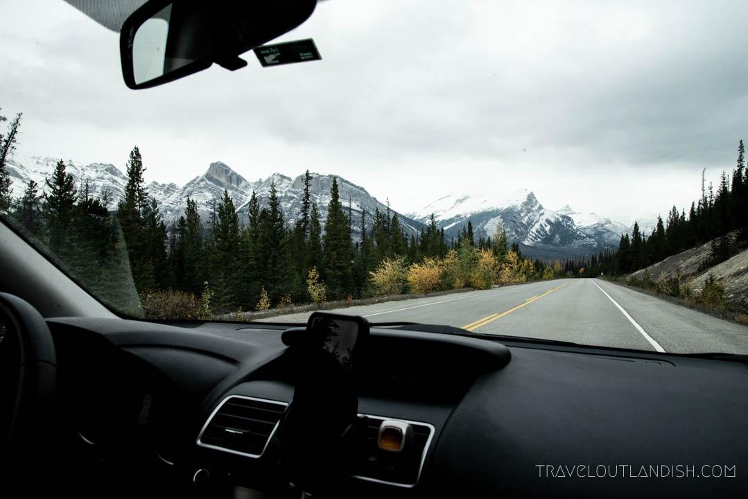 Photo behind the wheel at Jasper National Park