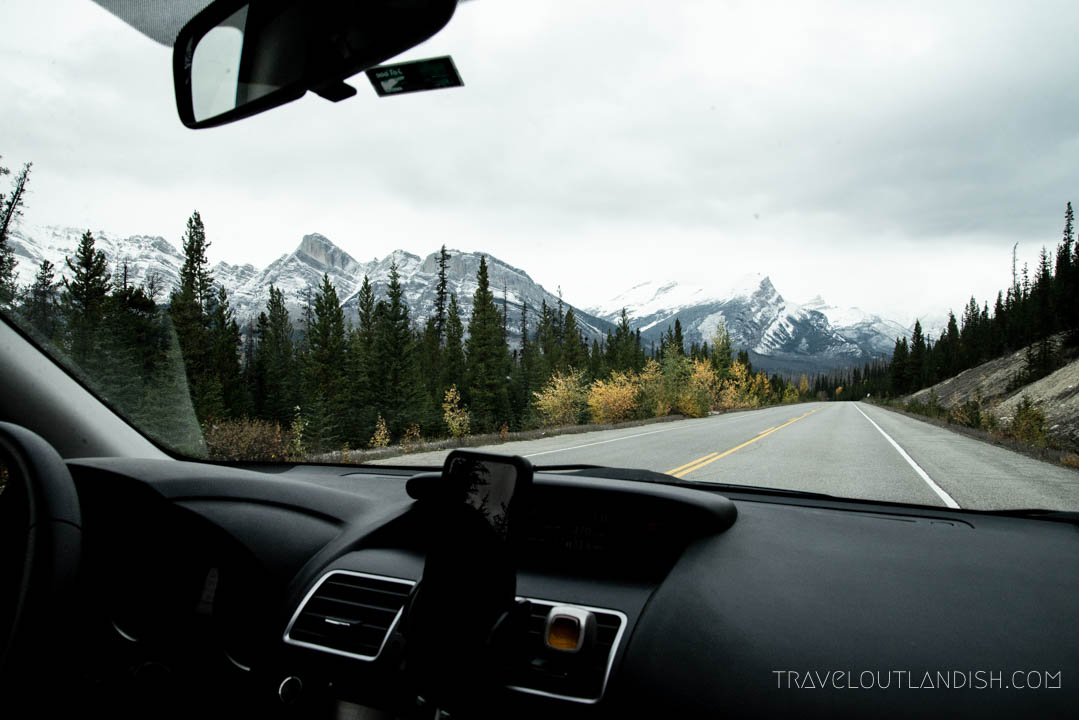 Through the windshield on the Icefields Parkway on our Canadian Rockies road trip